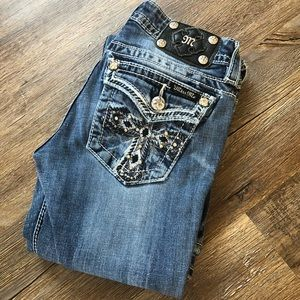 Miss Me boot cut jeans with crosses on the pockets